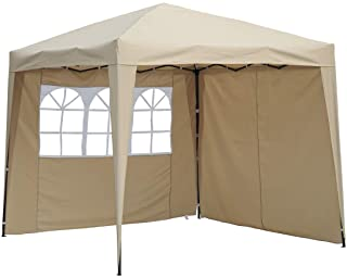 Angel Living Cenador Pop-Up Plegable 2.5 x 2.5m con 2 Lados de Telas- Gazebo con Bolsa De Transporte- Carpa Plegable para el Exterior (Beige)