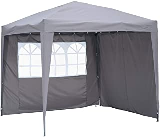 Angel Living Cenador Pop-Up Plegable 2.5 x 2.5m con 2 Lados de Telas- Gazebo con Bolsa De Transporte- Carpa Plegable para el Exterior (Gris)