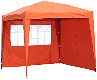 Angel Living Cenador Pop-Up Plegable 2.5 x 2.5m con 2 Lados de Telas- Gazebo con Bolsa De Transporte- Carpa Plegable para el Exterior (Terracota)