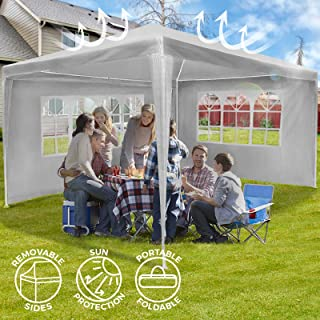 Carpa de Jardin - 3x4m con 4 Paredes Laterales- Impermeable- Proteccion Solar UV30+- Blanco - Tienda Pabellon- Tiendas para Eventos y Fiestas- Carpa Pop-Up- Gazebo