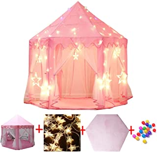 Carpa De La Casa De Los NinOs- Rosa Hexagon Princess Castle House Carpas del Palacio Kids Castle Playhouse con Luces De Estrellas para Exteriores- Gran Regalo para NinAs