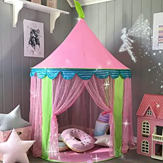 Carpa para ninos Princess Castle for Girls - Glitter Castle Pop Up Play Carpa Tote Bag - Ninos Playhouse Toy para juegos de interior y exterior 41 -X 55- (DxH)