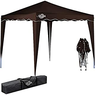 Deuba Pabellon de Jardin cenador Capri Marron 3x3 m Carpa Plegable de jardin Impermeable y Pop Up para Eventos Camping