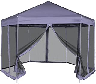 FAMIROSA Carpa Hexagonal desplegable con 6 Paredes Azul Oscuro 3-6x3-1 m