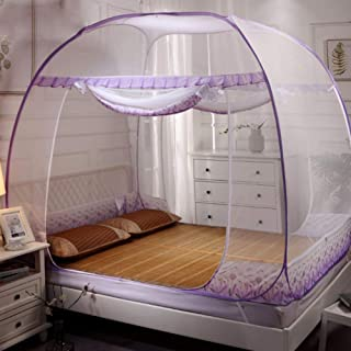 Mariisay Tejido De Tul Redondo Castle Dome Casual Chic Carpa Mosquitera Soporte Plegable Doble Baby Living Cortina De Musgo Purple Queen2 (Color : Colour- Size : Size)