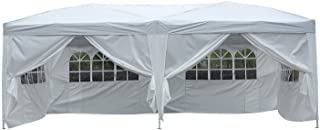Outsunny Carpa Blanca 6x3m Plegable en Acordeon 4 Paneles Laterales 2 Cortinas + 1 Bolsa
