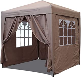 QUICK STAR Jardin Gazebo Plegable Pop-Up 2 x 2 m Beige con 4 Paredes Laterales de Velcro facil con 2 Cremalleras