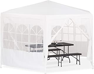 Relaxdays Carpa Jardin Hexagonal- Blanco