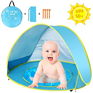 Topmore Tienda Playa Bebe- Pop-up Tiendas de Campana con Piscina para Ninos Carpa Plegable Portatil Anti UV 50+ Protector Solar